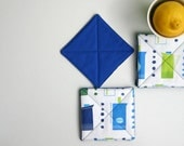 Retro Kitchen Fabric Coasters Set of 4. Coffee Pots in Green, Blue and White - Reversible Double-sided Fabric Coasters - CoastersAndCo