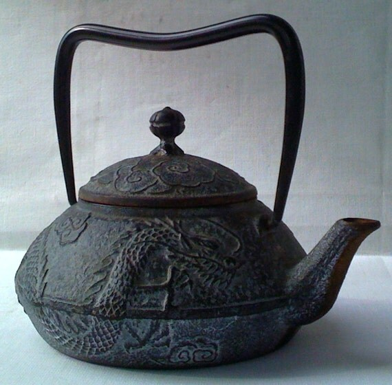 Japanese cast iron metal teapot dragon clouds tea kettle - Cast iron teapot dragon ...