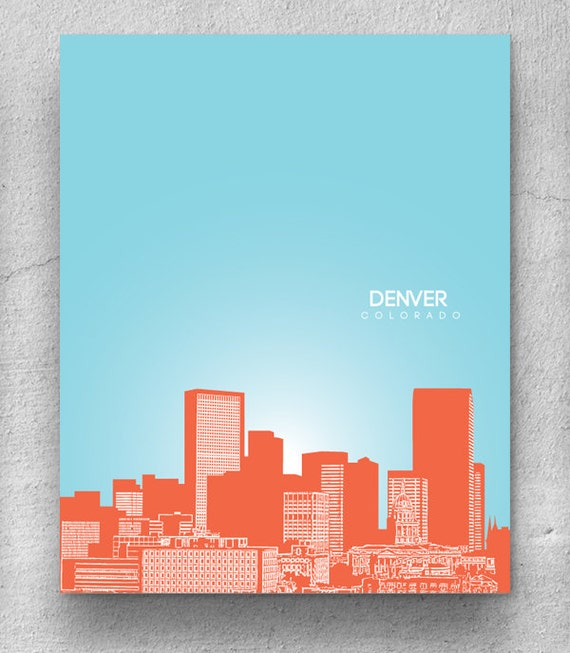 Denver Colorado Skyline Print / Home Decor Art Poster / Unique