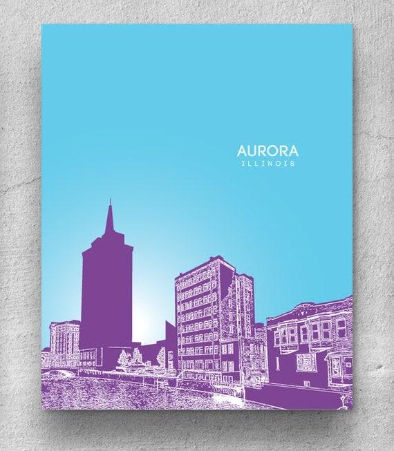 Aurora Skyline Aurora Illinois Skyline Art