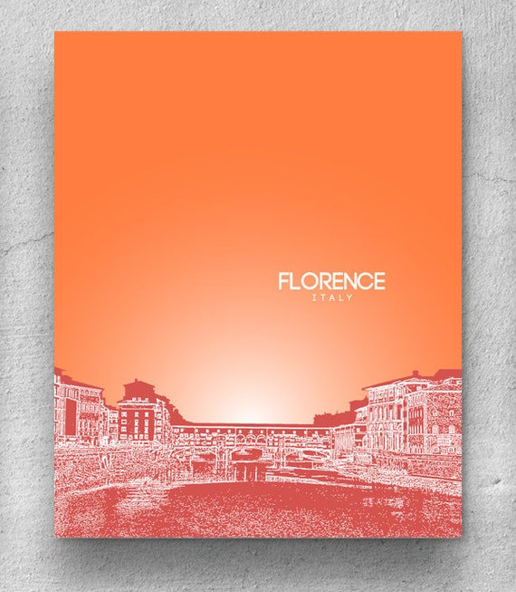 Florence Italy City Skyline Poster Travel City Art Poster
