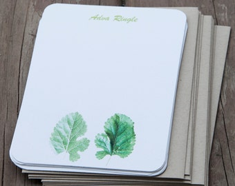 Two Green Leaves Stationary. Set of 12. Personalized Gift Stationery. Eco Friendly Cards