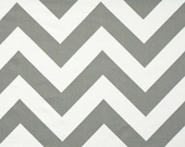 Large CHEVRON Wedding AISLE RUNNER, Grey Storm and White Cotton Twill Fabric, Select Your Length