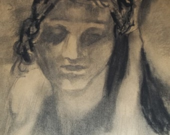 Charcoal drawing - copy of Ingres painting