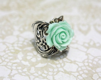 Rose adjustable ring in Silver or Bronze pick your color and finish