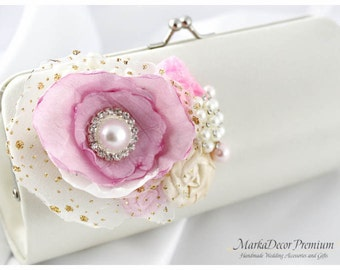 Bridal Wedding Clutch Flower Handmade Brooch Bridesmaids Purse with Handmade Flowers, Crystals, Pearls in Pink and Ivory