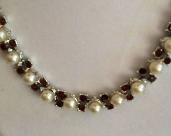 Vintage Redux....Pearl and Purple Rhinestone necklace. Old to New