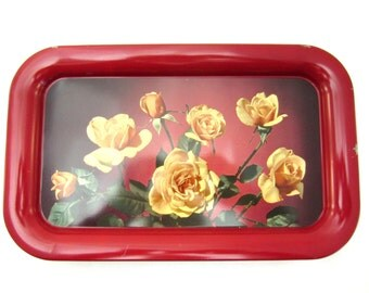 6 Vintage Red Trays with Yellow Roses
