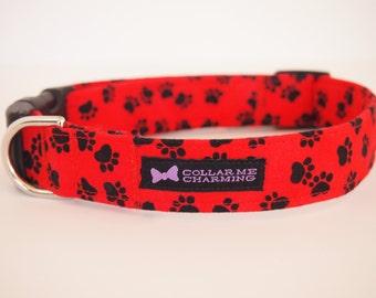 Red Paw Dog Collar Pawlicious