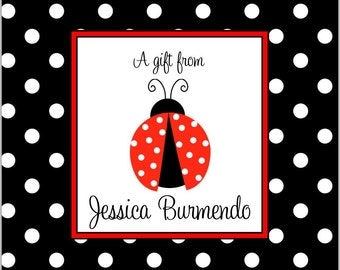 12 Printed Red Ladybug gift tags by Swell Printing