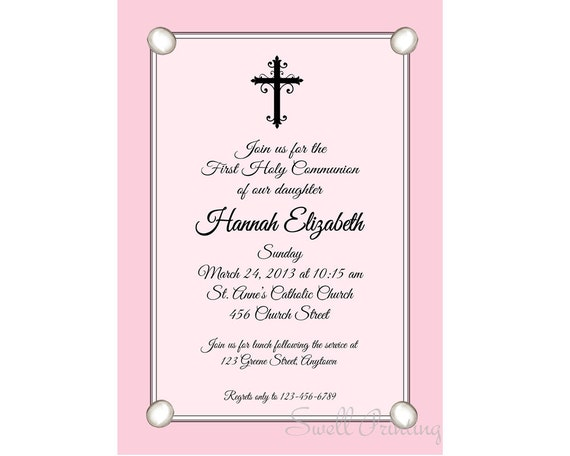 Pink Confirmation Invitation Confirmation Invitation – Confirmation Party Invitations
