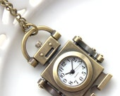 Cute Pocket Watch, Retro Style Pocketwatch, Working Watch, Robot, Future Clock Necklace, Small Watch (PW12)