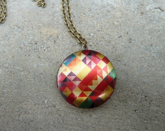 Geometric Locket Necklace // Colourful Locket // Antique Brass Locket