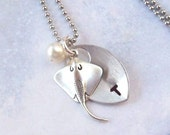 Stingray Necklace, Silver Tropical Necklace , Personalized Necklace, stainless steel, hypo allergenic, stamped, pearl, spring fashion