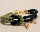 Light Green & Navy Blue Square Knot Seashell Bracelet