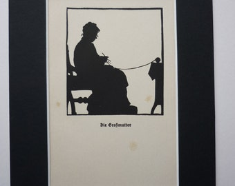 1930's German silhouette of Grandmother knitting by  Rudolf Koch  - paper cut - shadow  - antique - vintage -  Großmutter