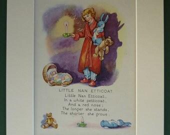 Vintage 1949 Children's Print - Little Nan Etticoat - Nursery Rhyme - Fairytale - Bedtime Story - Sleepy - Night - Sleep - Rene Cloke