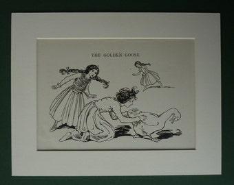 Vintage 1929 Golden Goose Print - Helen Stratton - Brothers Grimm - Fairytale - Illustration - Folk Tale - Children's - Nursery - Matted