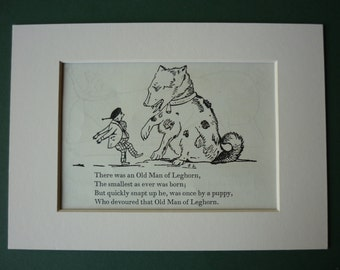Vintage 1950 Edward Lear Print - Victorian Nonsense - Silly Story - Limerick - Song - Matted Ready To Frame - Little Person - Small People