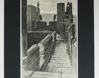 Original 1882 Medieval Castle Matted Print - Battlements - Fort - Fortification - Defence - Barbican - Parapet - Engraving - Black & White