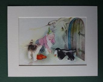 Original 1953 Enid Blyton Matted Print - Willy Schermele - Gnome - Cat - Dog - Vintage - Children's - Puppy - Kitten