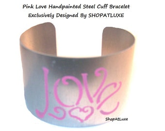Pink Love Handpainted Steel Cuff Bracelet,  Adjustable