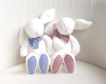 Two Easter bunnies, baby shower gift, wedding gift idea, cute soft animal