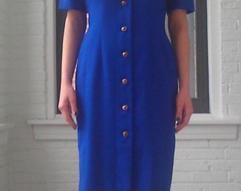 Vintage Royal Blue Shirt Dress