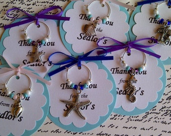 5-45 Custom Beach Themed Wine Charm Favors - Weddings, Bridal Shower, Rehearsal Dinner, Anniversary, Birthday Party or Special Event