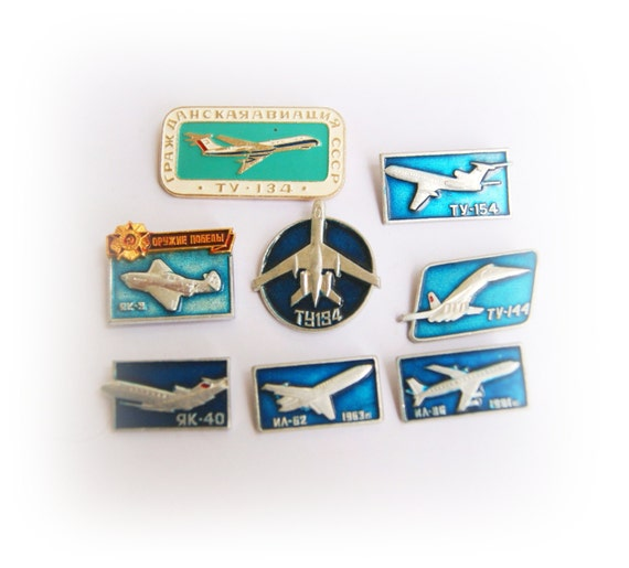 8 Rare vintage Soviet pins airplanes, aviation