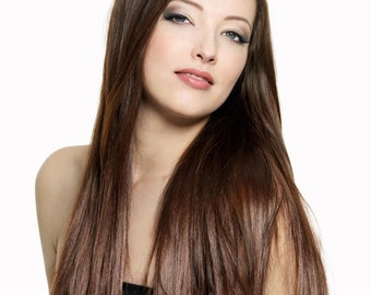 "Heat Resistant Clip In Hair Extensions, 24"", MEDIUM BROWN, Full Head, Long, Straight, Clipin"
