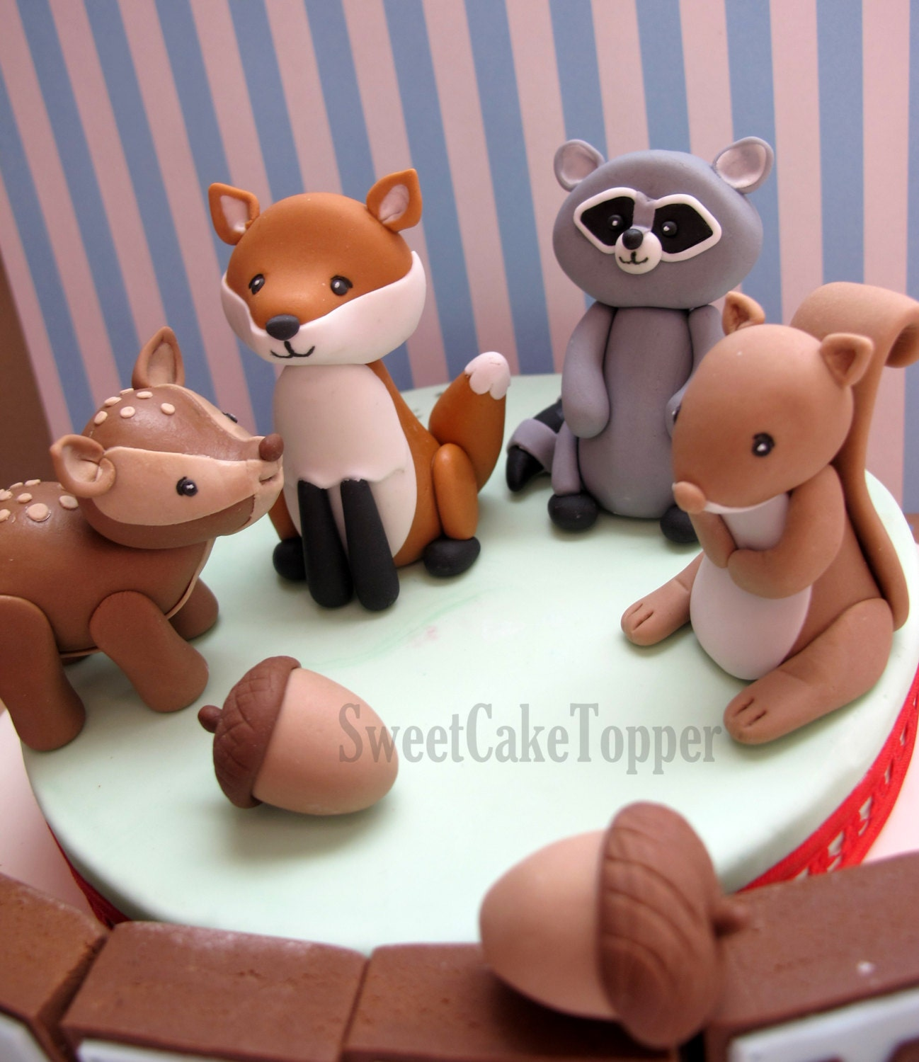 Reserved for Ms. Jessica Woodland Animal Cake Topper with