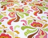 SALE Laminated Freshcut groovy brown cotton fabric  1 yard