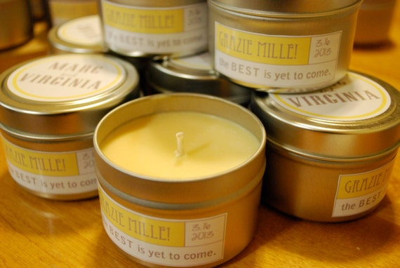 the perfect wedding favor: hand poured soy candle
