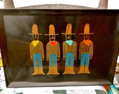 couroc of california cocktail tray with cowboys