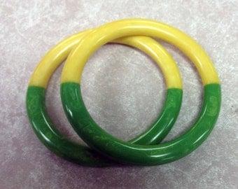Contemporary Artisan Bakelite Utilizing Vintage Materials, Two color Bracelet
