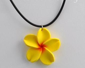 Hawaiian Jewelry - Polymer Clay Plumeria 36mm Flower Black Cord Necklace - Yellow