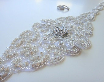 Swarovski Crystal Bridal Sash Belt, Rhinestone Bridal Belt Sash, Beaded Bridal Sash Belt