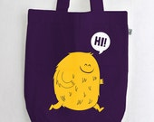 "Organic cotton cute monster Fashion bag ""Hi"" cloth bag / canvas bag purple screen printing BIO"