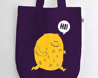 "Organic cotton cute monster Fashion bag ""Hi"" cloth bag / canvas bag purple screen printing BIO"