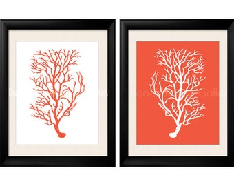 Antique Illustration Orange Coral Sea Coral, Print Set of 2, Coral Wall Art, Coral Print, Sealife print , Orange Coral