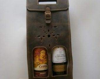 Bag for bottles, Bottles case, Twin wine bottle case, Handmade bottle bag, Bottles bag, Leather bottle case, Gift for him