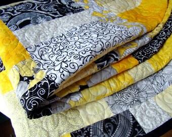 Bright Modern Patchwork Lap Quilt - Black, White & Yellow - Dandelion
