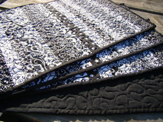 Black White Modern Trendy Quilted Placemats By