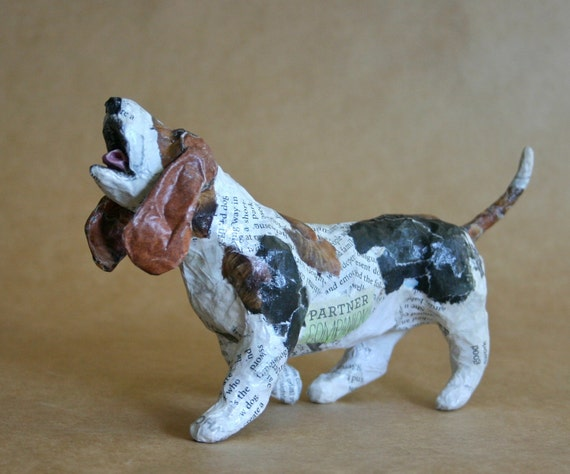basset hound whimsical paper mache dog sculpture. Black Bedroom Furniture Sets. Home Design Ideas