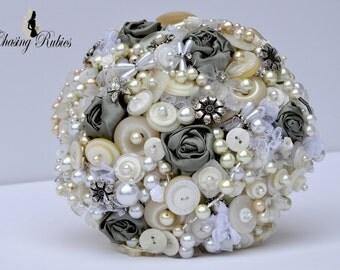 Vintage Pearl Bouquet, Button Bouquet, green bouquet