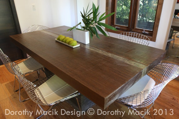 Custom Concrete And Wood Dining Table Rectangular By Rdandco