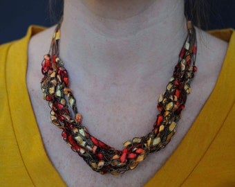 Ladder Yarn Dazzle Necklace - Tangerine. Great Summer Necklace.