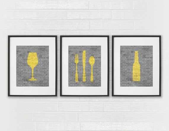 Modern Dining Room Art Kitchen Prints Beer Wine By