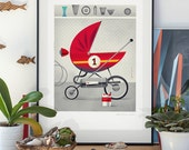 Daddy's pride. Illustration art giclée print signed by the artist Pawel Jonca. A2 poster